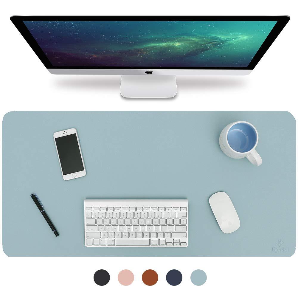 Knodel Desk Pad, Office Desk Mat, 31.5'' x 15.7'' PU Leather Desk Blotter, Laptop Desk Mat, Waterproof Desk Writing Pad for Office and Home, Dual-Sided (Light Blue/Silver) by K KNODEL