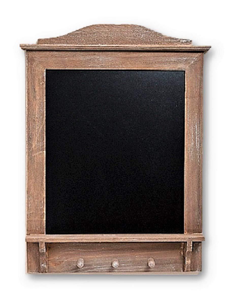 Blackboard Memo Board LARGE 64 CM x 45 CM x 6 CM for Hanging Board with 3 Hooks and Shelf Kitchen Chalkboard Wooden Key Hook Board