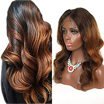 19818752c RosesAngel Ombre Human Hair Wig for Black/White Women Body Wave Brazilian  Glueless Lace Front
