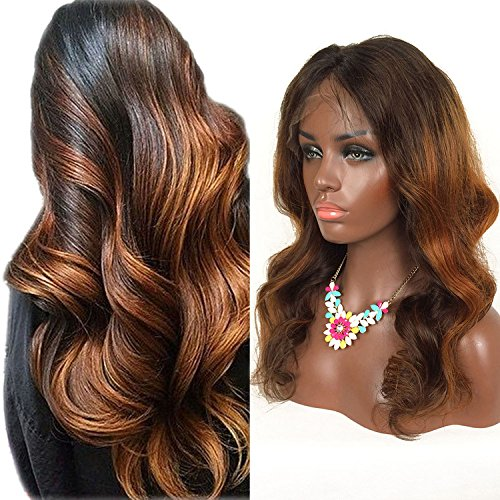 RosesAngel Ombre Human Hair Wig for Black/White Women Body Wave Brazilian Glueless Lace Front Human Hair Wigs With Baby Hair 14'' Lace Front Wig by RosesAngel