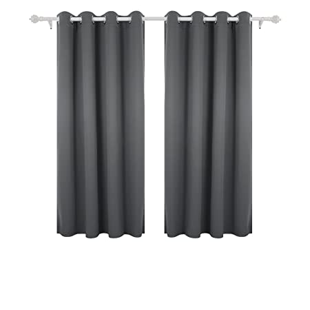 Deconovo Soft Plain Solid Thermal Insulated Eyelet Top Ring Blackout Curtains Blind For Nursery