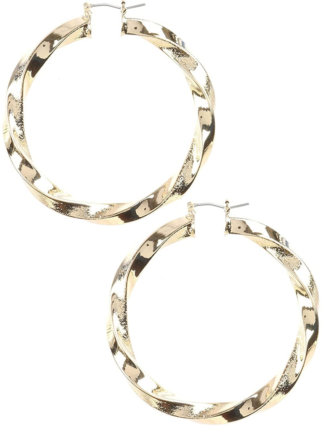 Destinee's gold TWISTED HOLLOW METAL HOOP EARRING