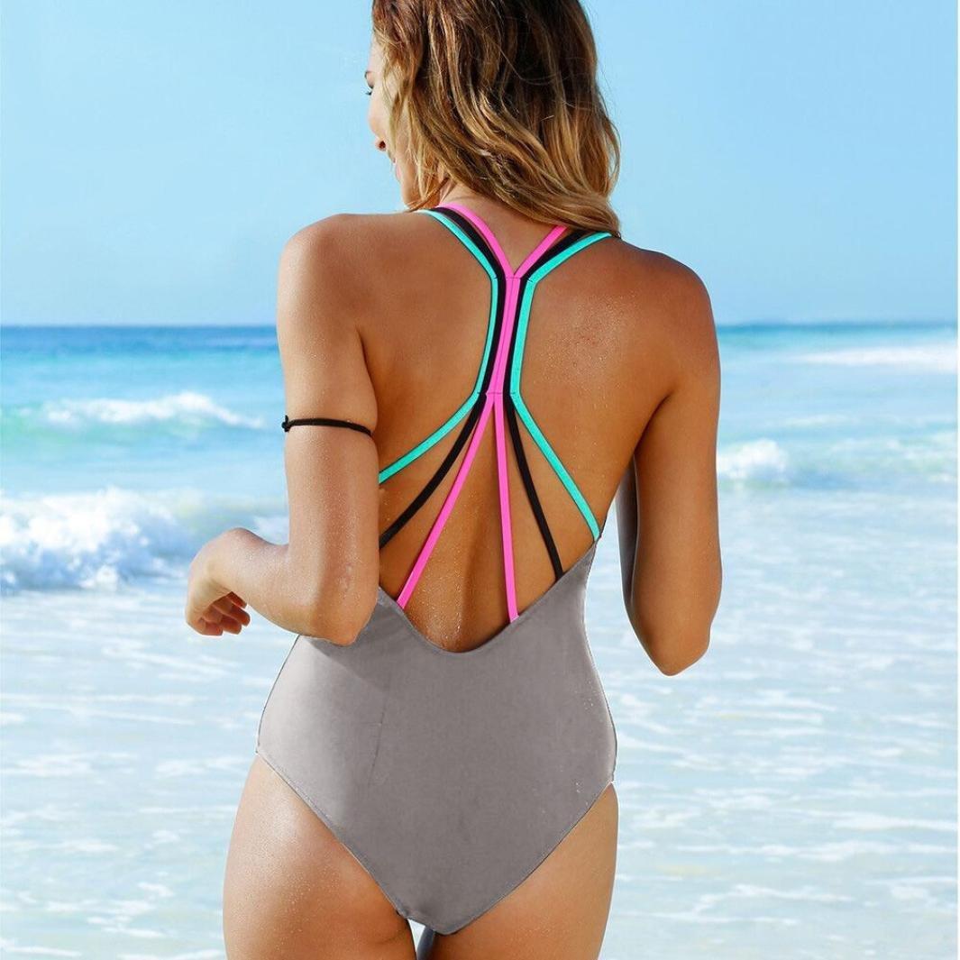 YanHoo ❤ Traje de baño, Bikini de baño de mujer Bikini de una pieza Push-Up acolchado de baño Backless Beachwear Sexy Moda personalidad Bonita Traje de ...
