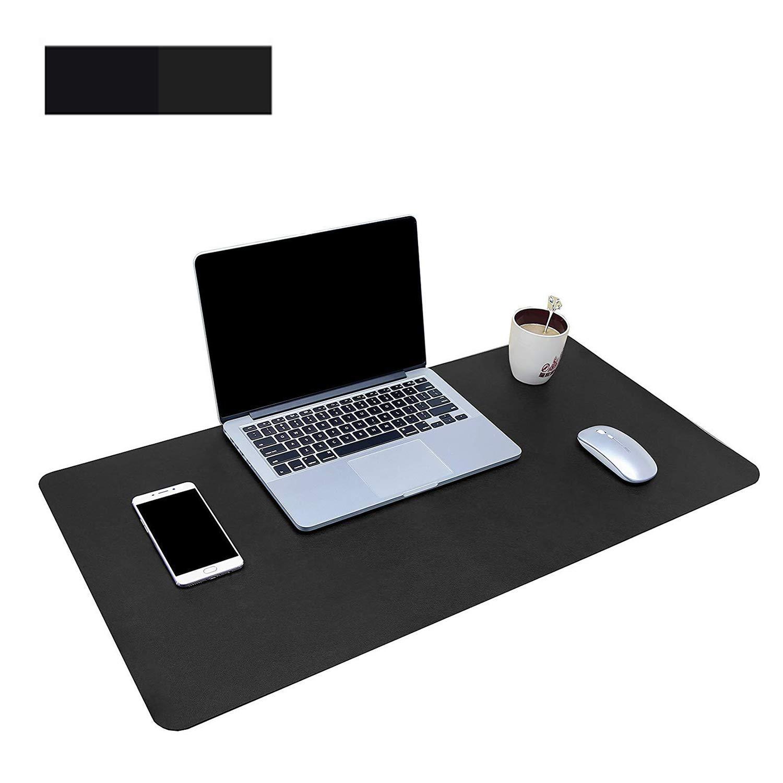 Dricar Office Desk Pad 31.5x15.8, Black PU Leather Mouse Pad Mat Waterproof Non-Slip Desk Writing Pad