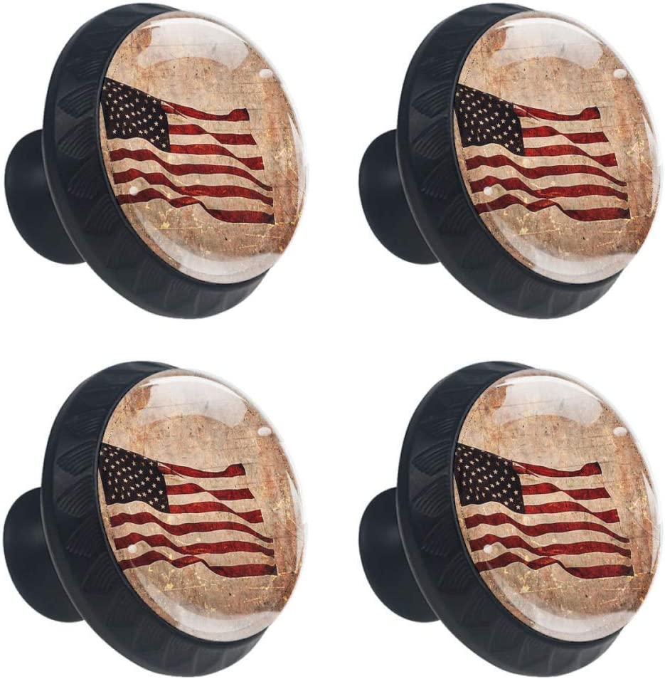4 Pcs 35mm Retro Patriotic American Flag Cabinet Knobs Round Glass Drawer Handles Pull with Screws for Home, Office, Kitchen, Bathroom Cabinet, Dresser and Cupboard (1-3/8 Inches)