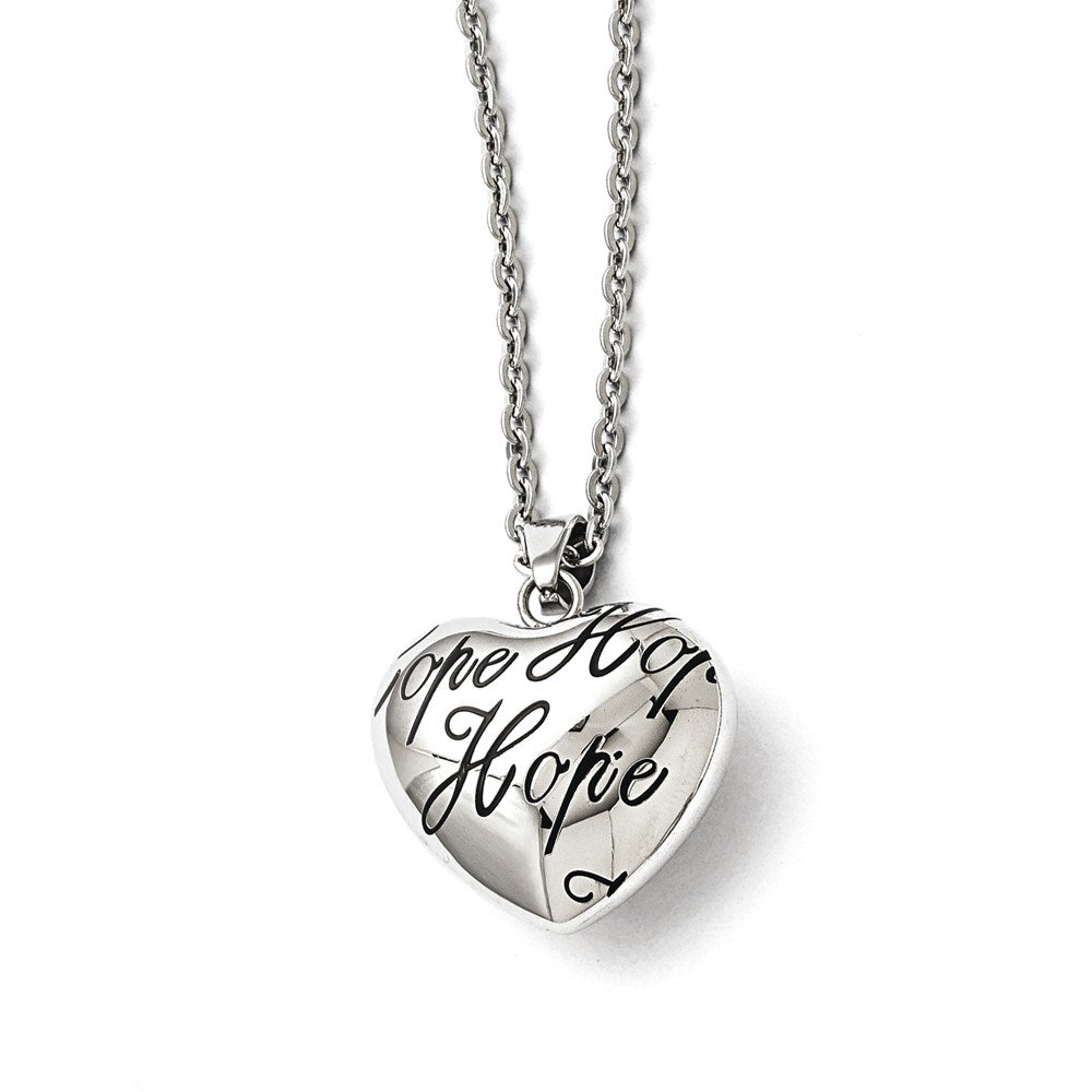 Top 10 Jewelry Gift Stainless Steel Polished and Enameled Hope Heart Necklace