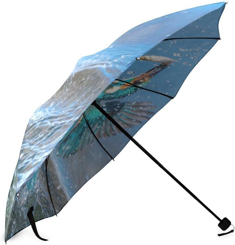 Custom Cute Little bird fishing Compact Travel Windproof Rainproof Foldable Umbrella