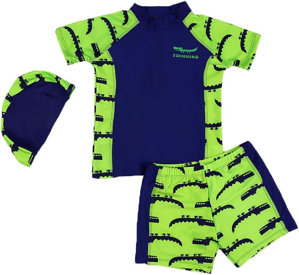 Monvecle Little Boys 6-Pieces Short Sleeve Rash Guard Swimsuit Set with Swim Cap UPF 50+