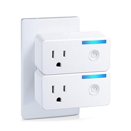 MoKo Smart Plug 10A Echo Spot Compatible with Alexa Echo Dot IFTTT 2 PACK No Hub WiFi Socket Google Home White Smart Life Wireless Remote Control