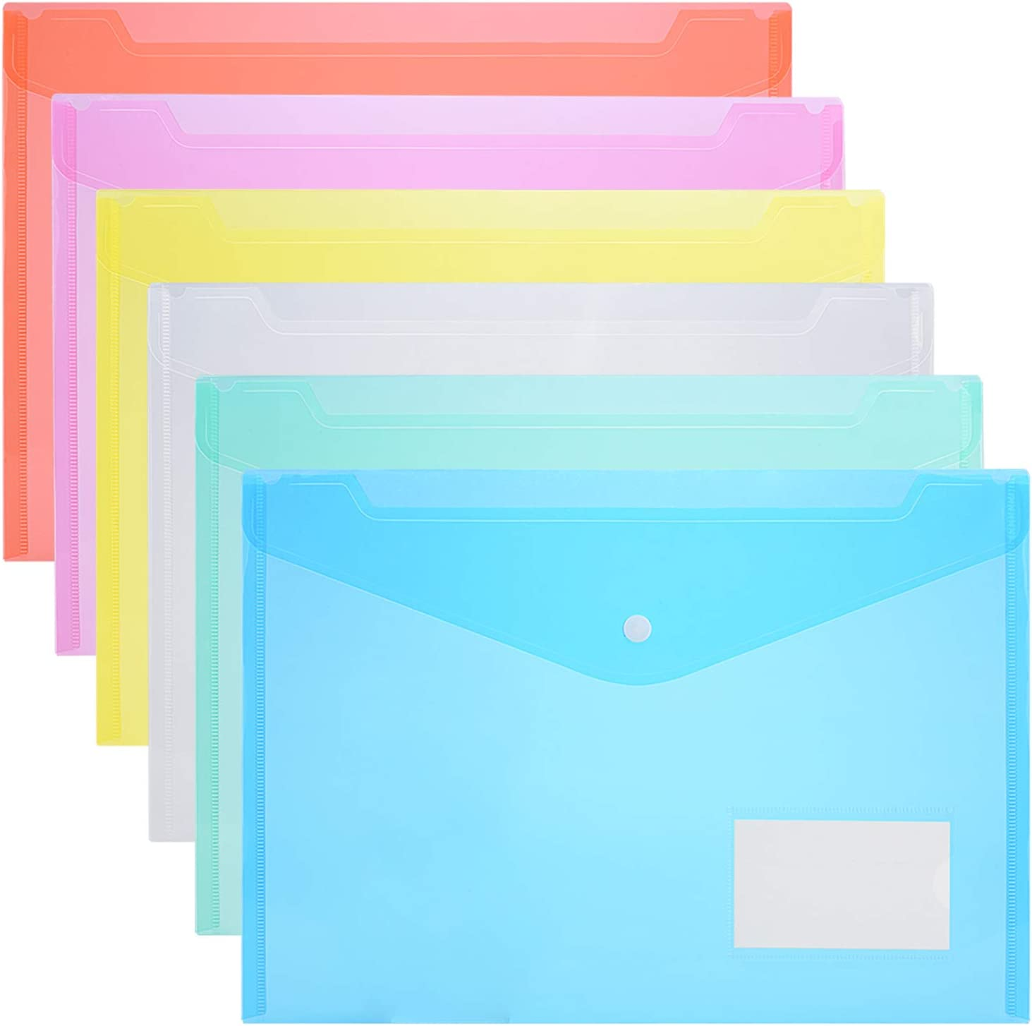 ZCZN 42 Pack of Clear Plastic Document Folders Letter Size File Envelopes with Label Pocket and Snap Button for School Home Work Office Organization, 6 Assorted Color, A4 Size