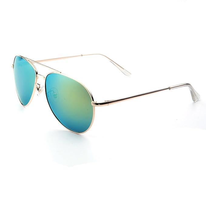 Jee Designer Mode der Frauen der M?nner UV400 Schutz Retro Polarized Aviator ¨¹bergro?en Sonnenbrillen 8064(Gold, eisblau)