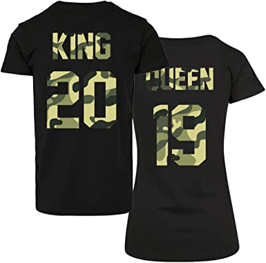 CVLR King Queen - Juego de camisetas para parejas, dos camisetas con número personalizado, camisetas con el amor, parejas, color negro y camuflaje
