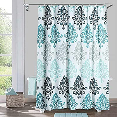 Yougai Shower Curtain for Bathroom with 12 Hooks, Polyester Fabric Machine Washable Waterproof Shower Curtains 72 x 72 Inch (Light Blue Damask) - Material of Bathroom Curtain: The shower curtain is made by 100% premium polyester fabric, which is made to withstand moisture-rich bathroom environments. with 12 plastic hooks, along with 12 metal grommets. Waterproof and Durable: Yougai grey shower curtain are extremely durable polyester fabric made, it prevents water splashing outside the bath area floor.Keep your home clean and fresh. Size: The shower curtain size of 72 x 72 inch will fit standard size shower / tub areas, No liner needed. - shower-curtains, bathroom-linens, bathroom - 615BcawUJ%2BL. SS400  -