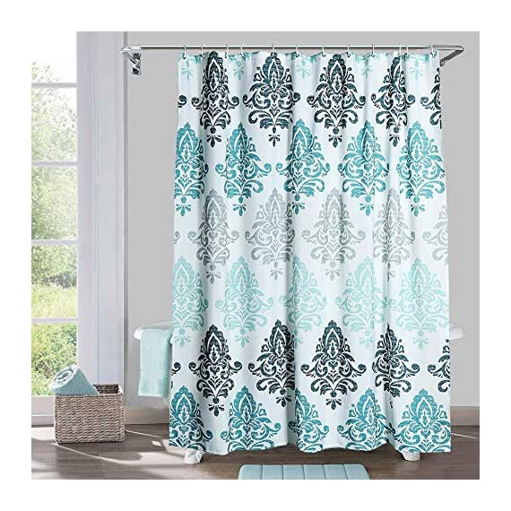 Yougai Shower Curtain for Bathroom with 12 Hooks, Polyester Fabric Machine Washable Waterproof Shower Curtains 72 x 72 Inch (Light Blue Damask) - Material of Bathroom Curtain: The shower curtain is made by 100% premium polyester fabric, which is made to withstand moisture-rich bathroom environments. with 12 plastic hooks, along with 12 metal grommets. Waterproof and Durable: Yougai grey shower curtain are extremely durable polyester fabric made, it prevents water splashing outside the bath area floor.Keep your home clean and fresh. Size: The shower curtain size of 72 x 72 inch will fit standard size shower / tub areas, No liner needed. - shower-curtains, bathroom-linens, bathroom - 615BcawUJ%2BL. SS570  -