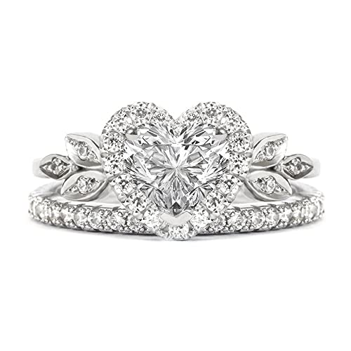3f4c37553 Love Blossom Heart Shaped Diamond Ring with Matching 2mm Eternity Diamond  Band , Bridal Engagement Diamond Wedding Ring set - 14K / 18K White /  Yellow ...