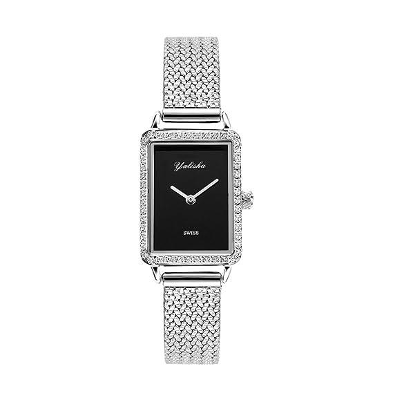 FUBULE Reloj de Banda de Plata del Acero Inoxidable de Las Mujeres, Relojes de Lujo del Vestido para Las Mujeres (Color : Silver): Amazon.es: Relojes