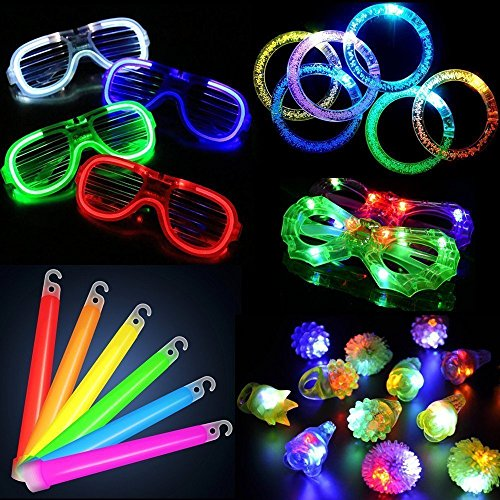 LACGO LED Glow Party Toy Set for Party Bag Fillers Party Classroom LED Accessories - 12 LED Flashing Bumpy Rings, 6 LED Bubble Bracelets, 6 LED Glasses, 6 LED Glows Sticks (30 PCS)]()