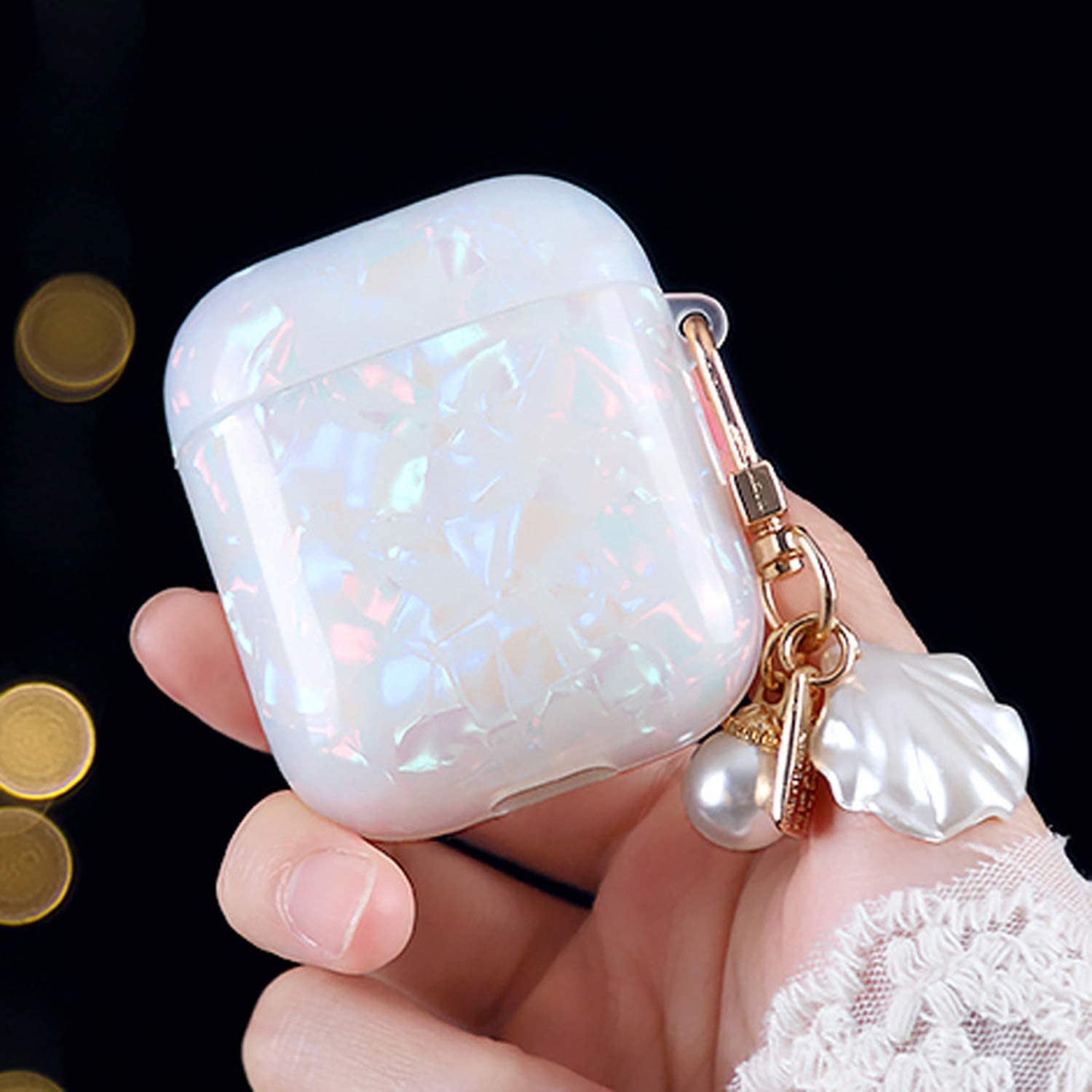Airpods Case with Pearl Shell Keychain, Glitter TPU Soft Case Cover Shockproof Protective Cute Airpod Case Cover Skins Compatible with Apple Airpods 2/1 Charging Case for Kids Girls Teens Women Boys