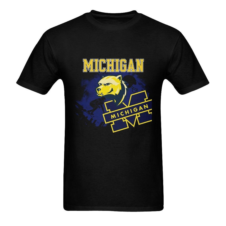 Burrows Custom Michigan Wolverines Men's Slim Fit T-shirt Black