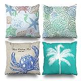 Decorative Pillows Case Cushion Cover 18'' x 18'' Set of 4,Beachy Blue Green Seaside Swirls Beach House Cool Vintage Nautical Crab Beachpalm Tree Aqua Decorative Home Decor Nice Gift