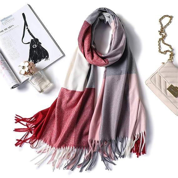 AFBLR Col écharpe châle Grand foulard en cachemire à carreaux femme hiver  épais écharpe châle en laine chaude, B  Amazon.fr  Vêtements et accessoires ece16ae4ed1