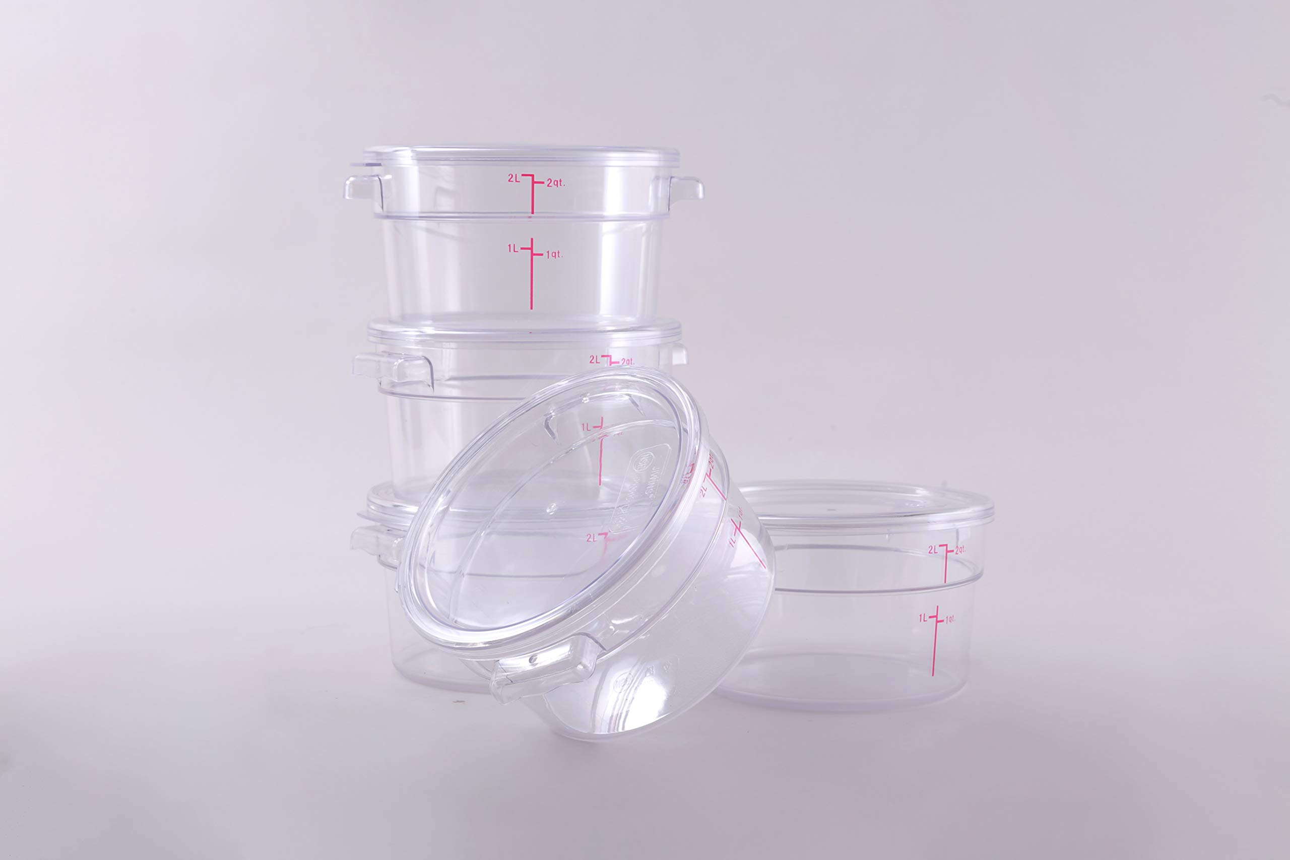 Hakka 2 Qt Commercial Grade Round Food Storage Containers with Lids,Polycarbonate,Clear - Case of 5 by HAKKA FOOD PROCESSING (Image #3)