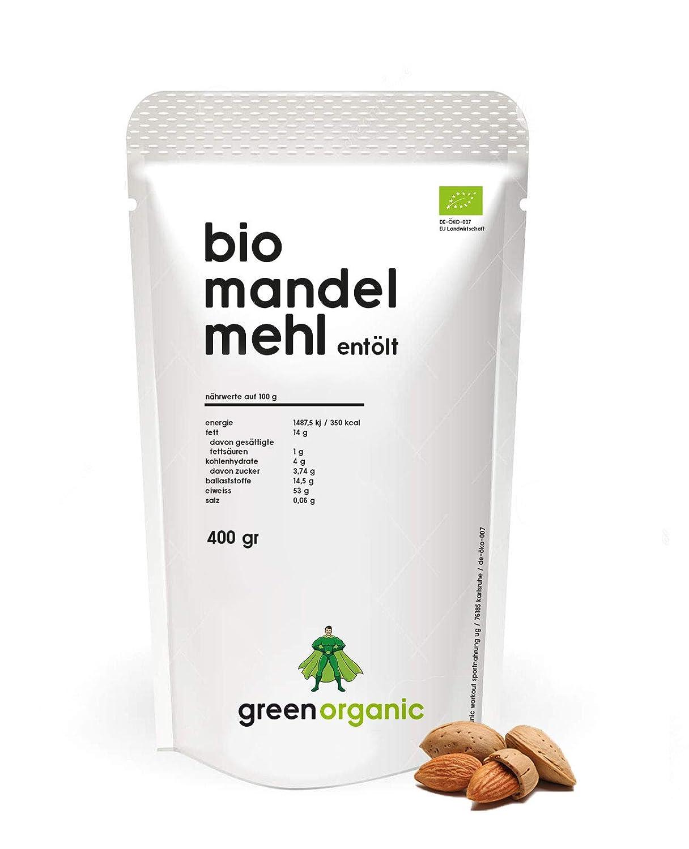 Harina de Almendra Orgánica, Premium, Blanco, Bajo en Carb, Sin Gluten, Vegano, Desolado, Alto en Proteínas, Fibra Alta, Paleo Superfood, 400g
