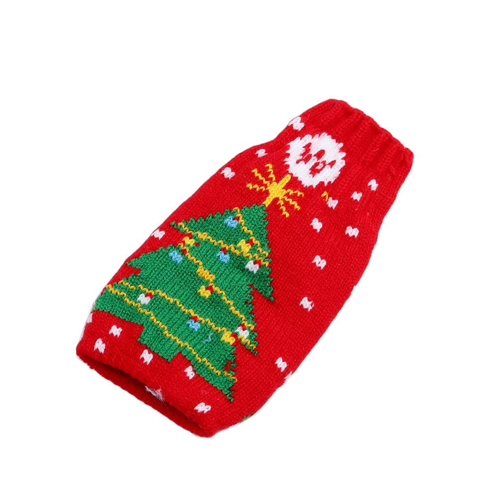 Xeminor Premium Quality Christmas Bottle Cover Bag Knitted Wine Sweaters Cover Dress Xmas Decoration,Red