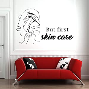 Wall Decal Quote Words Lettering Decor Sticker Wall Vinyl Spa Sign Facials Quote Mask Skin Care Treatment Beauty Salon Body Massage Home Decor Bedroom