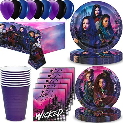 Descendants 3 Party Supplies for 16 - Large Plates, Dessert Plates, Napkins, Table cover, Cups, Balloons - Great Disney Decorative Birthday Set with ...