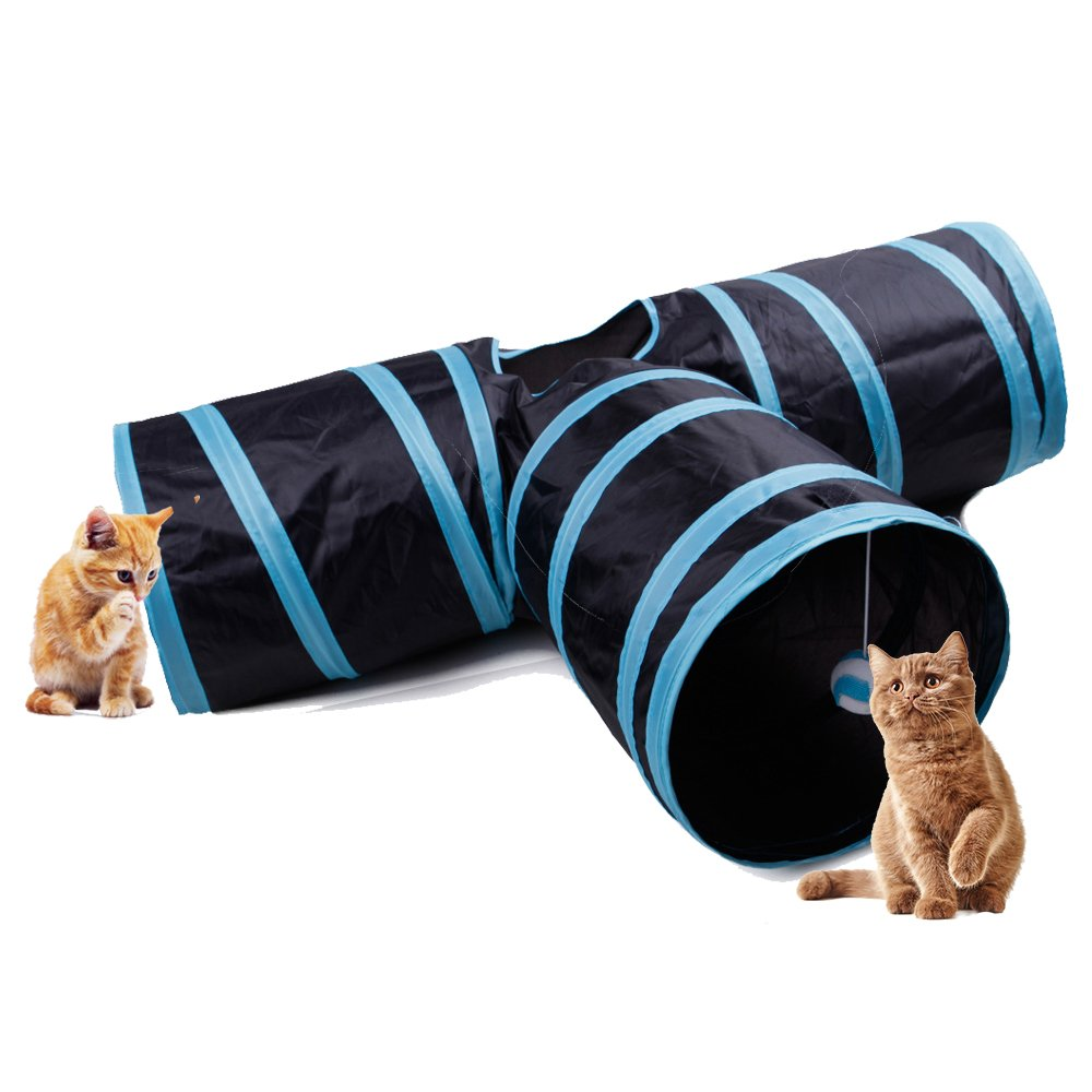 Multill Collapsible 3 Way Cat Run Road Play Tube Tunnel Toy for Cats and Little Dogs Blue