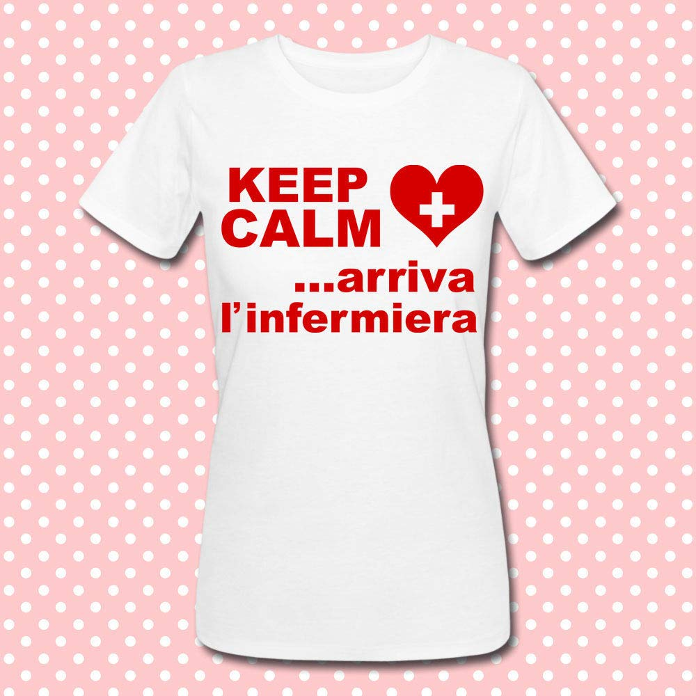 T-shirt donna Keep Calm. arriva l'infermiera! Idea regalo laurea in scienze infermieristiche!