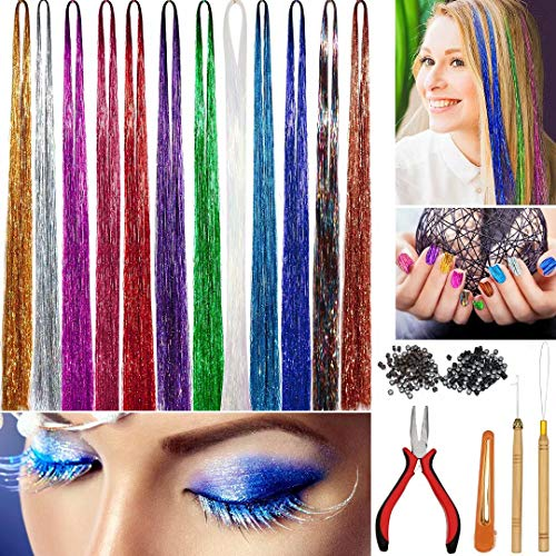 Hair Tinsel Strands Kit, WEST BAY 12 Colors 2400 Strands Tinser Hair Extensions Pliers Pulling Hook Bead Device Tool Kits Hairpin 200pcs Black Brown Silicone Lined Micro Rings for Girls Women Fashion