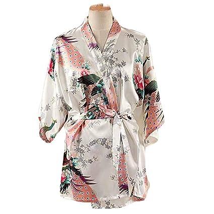 Blanco - Mujer Pijamas de Tela de Seda imitada Albornoz Corto Bata de Kimono Pavo Real