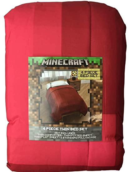 Amazon Com Minecraft Red Comforter And Sheet Set Twin 4pc Home