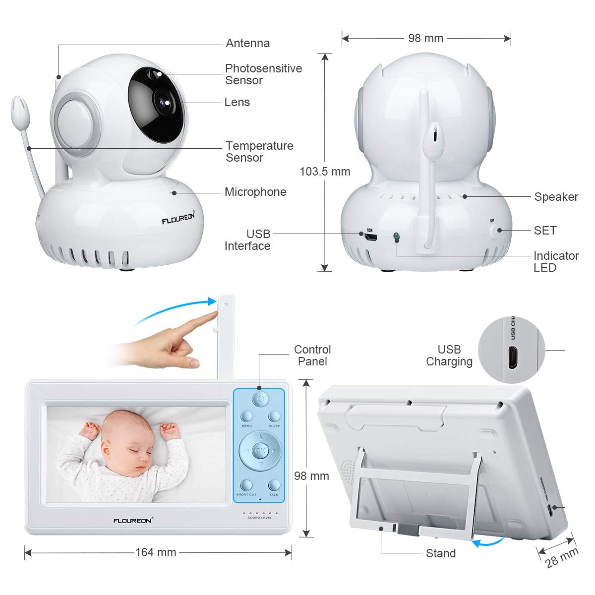FLOUREON Wireless Baby Monitor IP Camera with Two Way Talk 2.0 Inch LCD Digital Screen//Automatic Night Vision Security Camera//Temperature Monitoring//Lullabies Radio