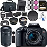 Canon EOS Rebel T7i DSLR Camera with 18-55mm Lens 1894C002 + 58mm Wide Angle Lens + 58mm 2x Telephoto Lens + Sony 128GB SDXC Card + LPE-17 Lithium Ion Battery + Universal Slave Flash unit Bundle