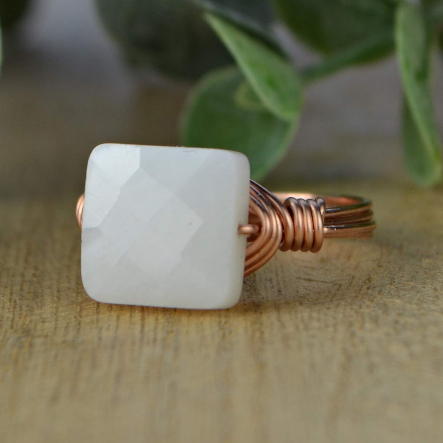Made to size 4-14 Faceted White Moonstone Square Gemstone Bead and Sterling Silver or Gold Filled Wire Wrapped Ring