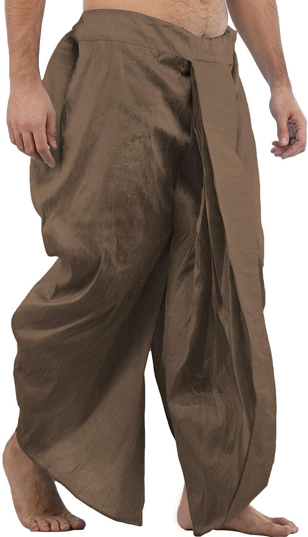 Maenner-Dhoti-Dupion-Silk-Plain-handgefertigt-fuer-Pooja-Casual-Hochzeit-Wear Indexbild 23