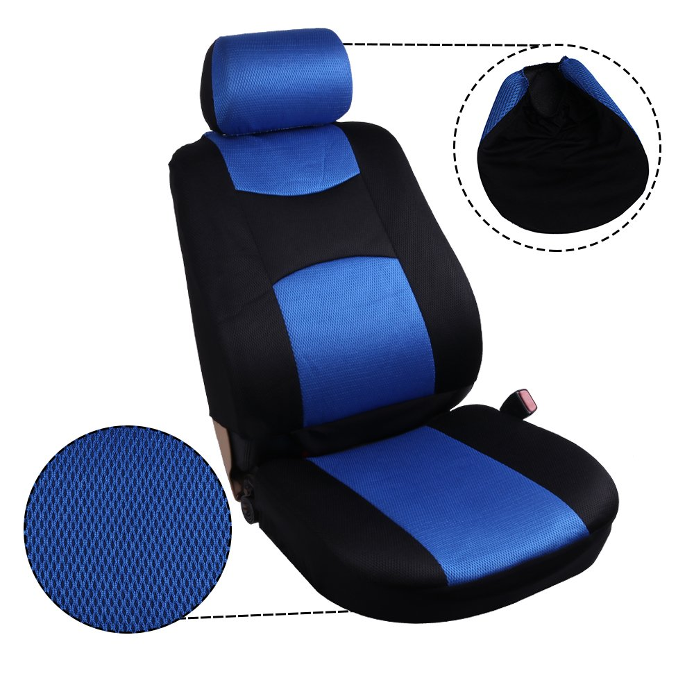 SCITOO Universal Blue//Black Car Seat Cover w//Headrest Breathable Mesh Cloth Seat Cushion 8pcs