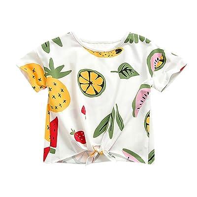 98aae9ae4c Minisoya Children Kid Baby Girls Fruit Printed Short Sleeve T-Shirt Summer  Tops Bandage Bowknot Shirts Tee Blouse