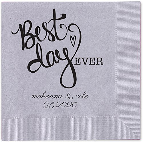 Best Day Ever Heart Personalized Beverage Cocktail Napkins - 100 Custom Printed Silver Gray Paper Napkins with choice of foil by Canopy Street