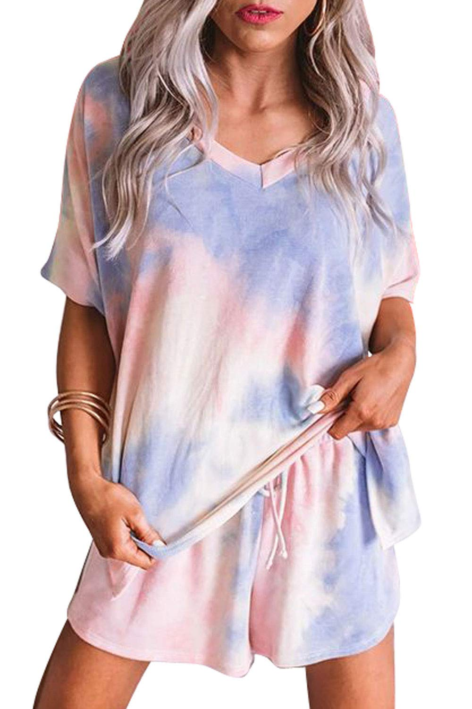 CILKOO Womens Tie Dye Printed Short Pajamas Set Long Sleeve Tops and