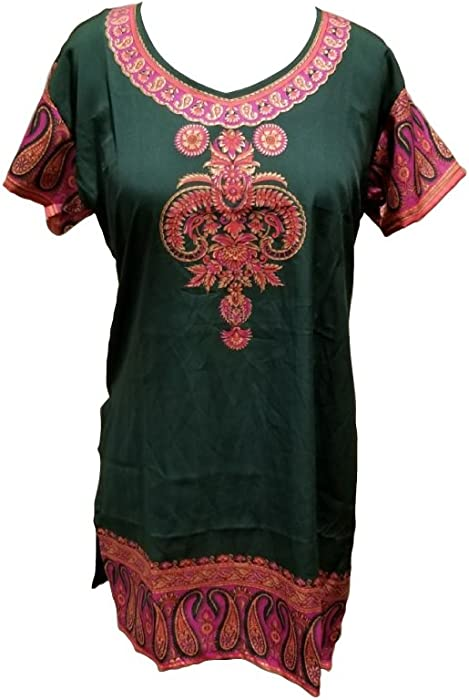 ce8c49e155a T202S Indian Tunic Top Womens Kurti Printed Blouse India Clothing at Amazon Women s  Clothing store