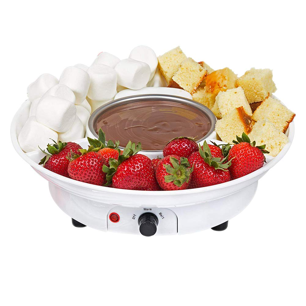 Mini Chocolate Fondue Electric Stainless Steel Fondue Pot Chocolate Melting Machine Dipping Dessert Fruits Butter Cheese for Kids Party IUMÉ