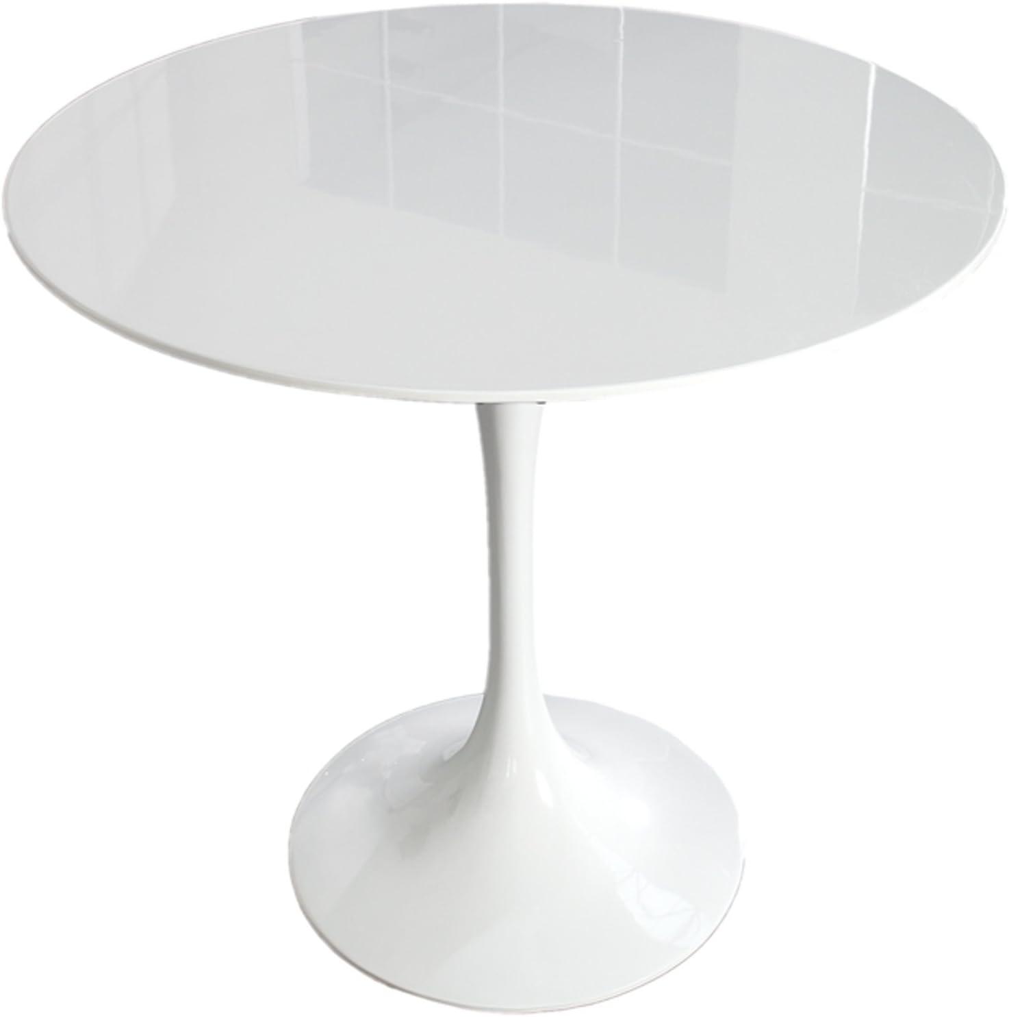 Invicta Interior Stylischer Esstisch SIGNUM 90cm rund aus Fiberglas weiß puristisch Tisch Hochglanz Küchentisch