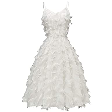 Vestido Plisado de Plumas Largo Mujer para Noche y Fiesta Casual ...