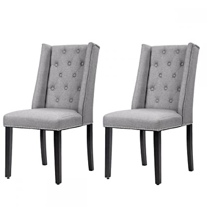 Dining Chair Set of 2 Elegant Dining Side Chairs Button Tufted Fabric w/ Nailhead  sc 1 st  Amazon.com & Amazon.com - Dining Chair Set of 2 Elegant Dining Side Chairs Button ...