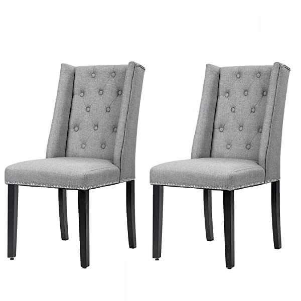 Dining Chair Set of 2 Elegant Dining Side Chairs Button Tufted Fabric w/Nailhead
