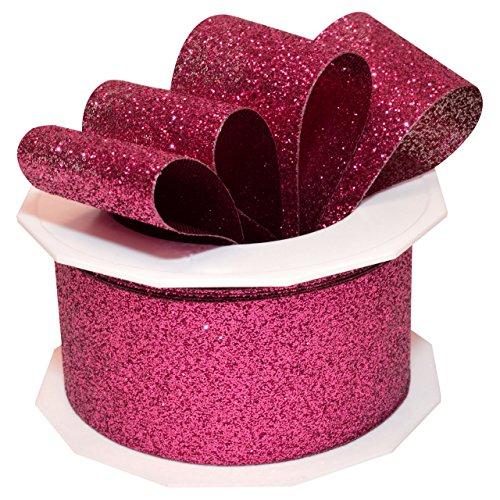Morex Ribbon 98509/10-616 Princess Glitter Metallic and Nylon Ribbon, 1-1/2-Inch by 10-Yard, Hot Pink (Pink Ribbon Ornaments)